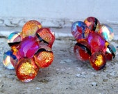 Red dichroic fused glass 'bobble' flower earrings