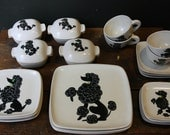 RESERVED Dinnerware Set / Mid Century GLIDDEN POODLE Art Pottery Plates Cups Bowls