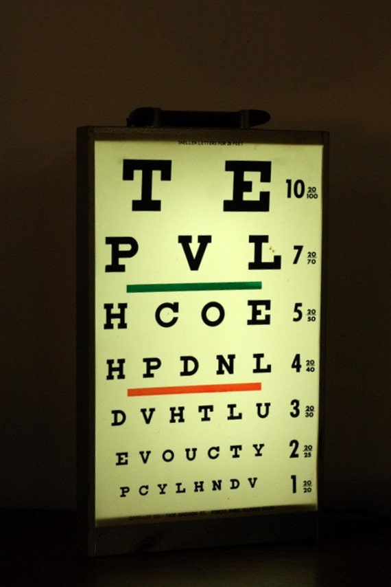 Vintage Optical Eye Chart Light Box