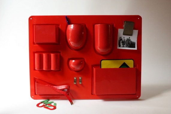 Vintage 1970s Red Plastic Storage Wall Organizer