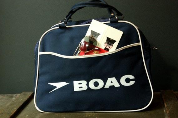 Vintage 1960s BOAC Travel Cabin Bag - Mint