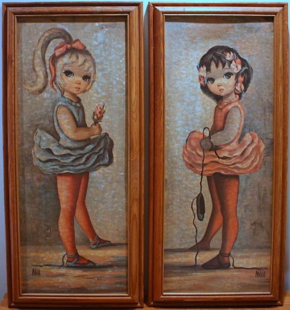 Vintage Maio Big Eyed Girl Paintings