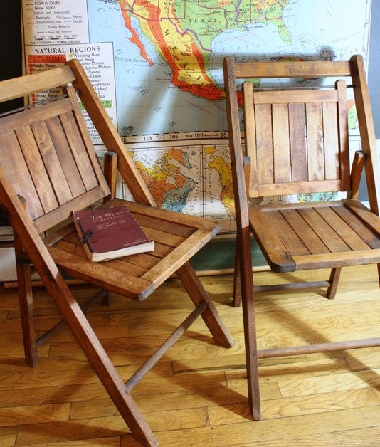 Vintage 1940s Folding Oak Wood Chairs