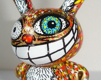 Made to Order Cheshire Cat OOAK Custom Dunny Kidrobot Urban Vinyl Art Doll Wonderland