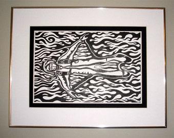 Skydive Art Black and White Birdman Original Framed Skydiving Pen and Ink Tribal Flames