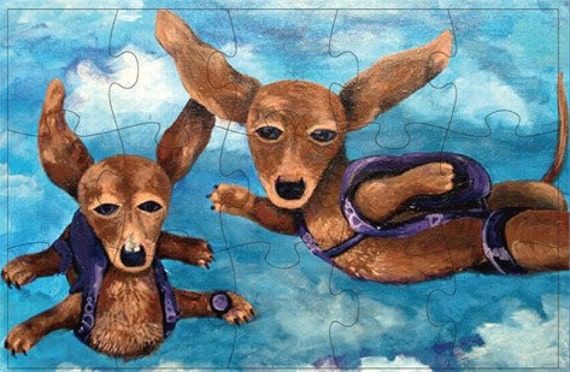 Magnetic  Skydiving Dogs Art Puzzle Skydive Dachshund Print