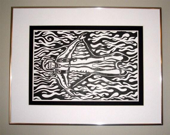 Black and White Birdman Original Framed Skydiving Pen and Ink Tribal Flames