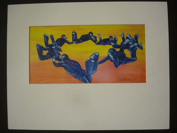 Skydiving Formation 8way at Sunset Matted Painting Print Skydive Parachute Art