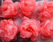 6 pieces Ruby Red Coral organza roses with pearls