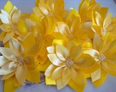 6  pieces yellow satin lotus flowers - Wholesale