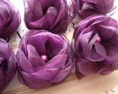 6 pieces plum  organza flowers wholesale