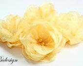 For La shell - 6 Pieces Yellow  Saffron Handmade Organza Flowers