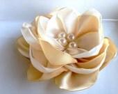Handmade ivory cream satin  flower brooch with pearls..