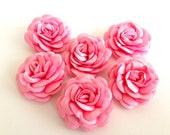 6 pcs  handmade pink satin flowers - wholesale