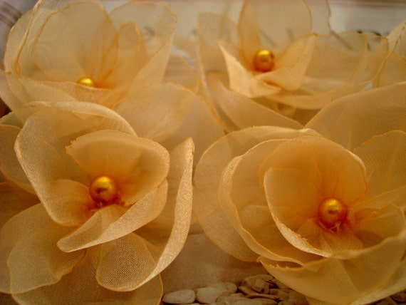 6 pieces gold goldenrod peaches organza sweety flowers for bag hat bridal sash home decor