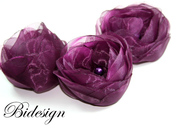 6 Pieces Plum Purple  Organza Blossom Fabric Flowers With Pearl
