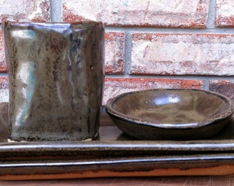 Handmade Mojave Dusk Ceramic Sushi Plate Set with Dipping Bowl and Sake or Tea Cup