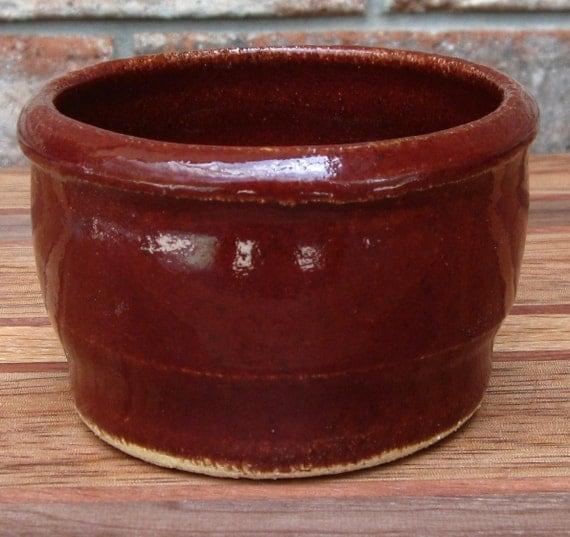 Ceramic Salt Box/Well in Rustic Red