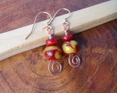 red and yellow copper earrings