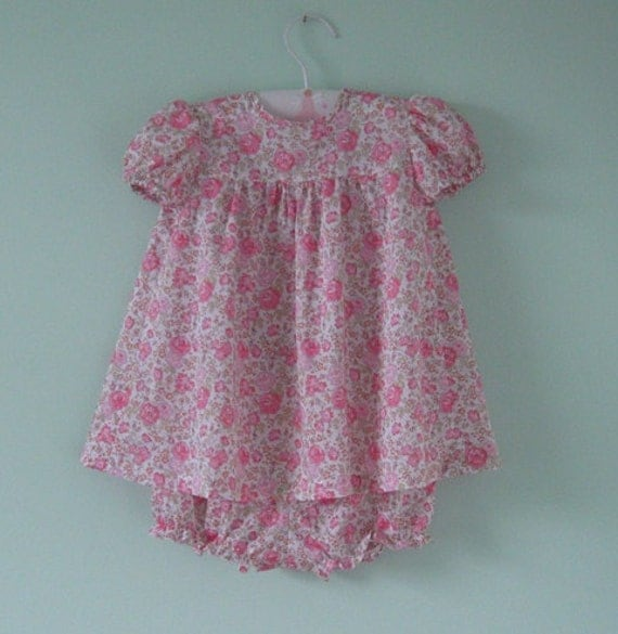 Beautiful pink rose liberty dress with matching knickers age 9 months