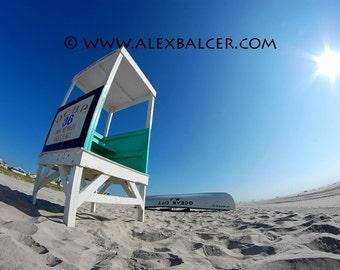 Photograph Print - Beach Lifeguard Stand and Rowboat, Ocean City NJ - sea ocean summer sand sun waves blue lifeguard stand dunes rowboat