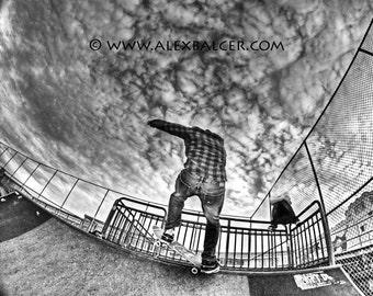 Fine Art Photography Print - Black & White Stylized Skater and Ramp, Ocean City, NJ www.alexbalcer.com