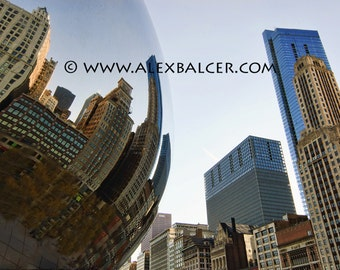 Photograph Print - Millennium Park Bean and Skyline - Chicago - city street mirror chi chitown bubble