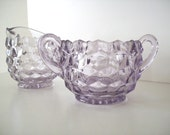 Purple FOSTORIA Glass Open Sugar Creamer Set American Lilac Orchid