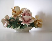 Vintage Pastel CAPODIMONTE Porcelain Flower Basket Bouquet Centerpiece - Blue crown N