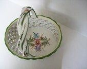 Ceramic BASKET Open Weave Hand Painted Made in Portugal
