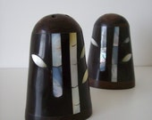 Mother of Pearl Inlay Wood Salt & Pepper Shakers