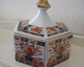 Japanese Ceramic IMARI Style Hexagon Lidded Box - Made in Japan