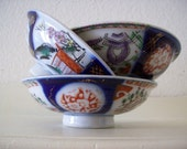 Vintage RICE BOWLS Set of Three Asian Porcelain Pedestal Dishes