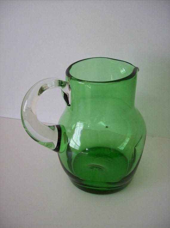 Vintage HAND BLOWN Pitcher Clear Green Glass Pinch Dimpled