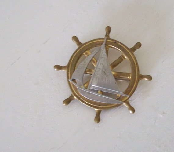 Vintage NAUTICAL Brooch Pin Ship Wheel Sailboat Brass and Silver tone C-clasp