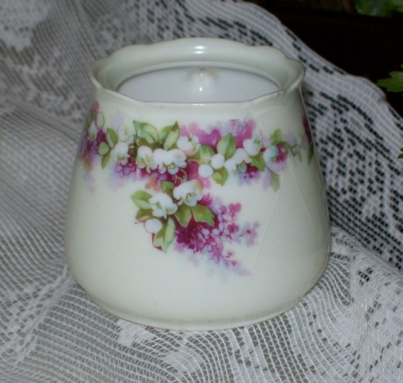 RESERVED Silesia Germany Lavender Lilacs and Lilies Sugar Bowl or Jam Jar -Hermann Ohme-