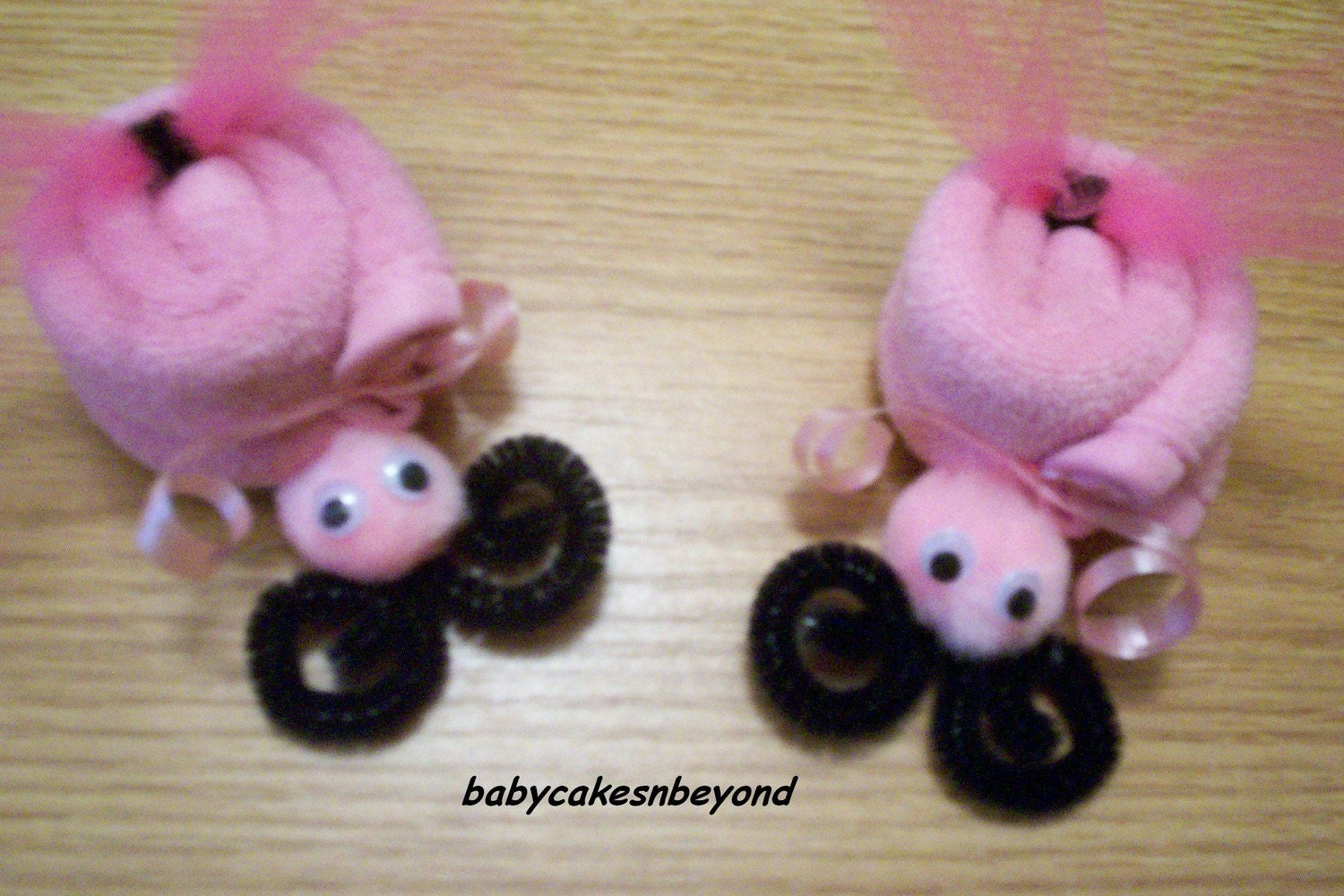 pink washcloth ladybug baby shower favor decoration
