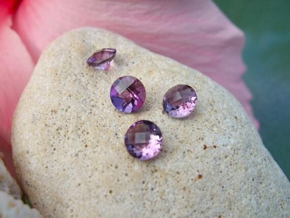 Genuine Amethyst Gem Stone Rounds - Pair, 6mm