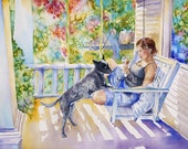 Custom portrait, hand painted, watercolor painting, children at play, favorite pets, child portrait,  12 x 16 size