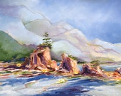 Ocean landscape, Oregon Coast, Abstract painting, Giclee print, 8 x 10 inches, Seascape Painting, Coastal Art, Beach Decor,