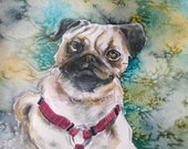 Dog painting Pug - Print of Watercolor  -  Pug Puppy Pet Love Pugs Pet Portrait Aceo size Print