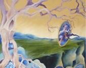 Tree of Life Oil Painting on Canvas Original Spiritual art Surreal Landscape