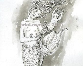 Mermaid Drawing,  Pen and Ink drawing, Original Drawing, Mermaid Illustration, Mermaid Mother, baby mermaid, Ocean Goddess, of the Sea