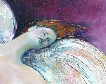 Acrylic painting, winged Goddess, Giclee Print, Nude Figure, 5 x 7