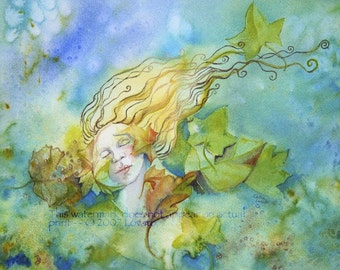 Watercolor Painting, Goddess Art, 5 x 7 Giclee Print, Watercolor,  Mother Earth,