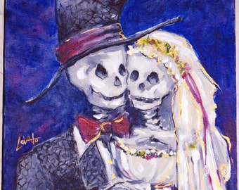 Acrylic Painting, Skeleton wedding, Skeleton bride, October wedding, Day of the Dead Wedding, Giclee Print 5 x 7, Wedding gift