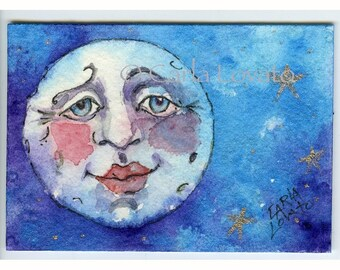 Blue Moon, watercolor painting, 5 x 7 Giclee print, Moon and stars, full moon, Moon face, celestial decor, moon child