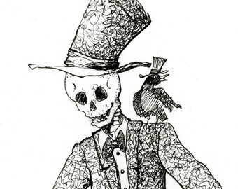 Skeleton Drawing, Steampunk illustration, Pen and ink, fine art Giclee print, day of the dead, gothic, steampunk drawing, ink wall art,