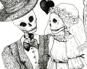 Day of the Dead, Wedding, Skeleton drawing of Bride and Groom, Giclee Print, Valentine, gothic, Halloween wedding