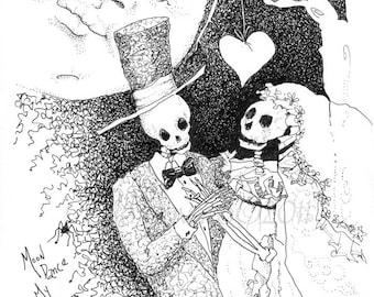 Skeleton art, Day of the dead, wedding, skeleton bride, Print of Ink, drawing,  illustration, giclee print